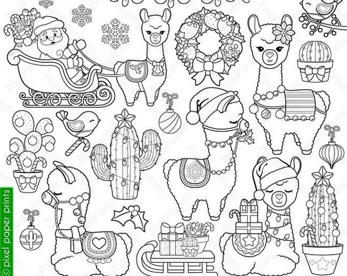 Colorful Llamas Decorated Llama Clipart Alpaca Clip Art Etsy Digital Stamps Coloring Pages Digital Stamps Christmas
