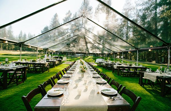 Farm Tables and Clear Top Tent |  | Lake Tahoe Wedding with @One Fine Day Events, @Camelot Party,  Photography by @Courtney Aaron | via TahoeUnveiled.com