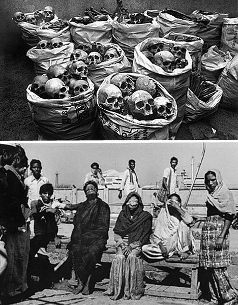 On December 3rd, 1984, over 500,000 people were poisoned by the release of extremely dangerous methyl isocyanate (MIC) gas and other toxins at the Union-Carbide pesticide manufacturing plant in Bhopal, India. The immediate death toll is estimated to be as high as 10,000 while 25,000 have since died from gas-related diseases... The plant, now owned by Dow Chemical Company, has never been cleaned up and continues to leak toxins into the groundwater of the region.