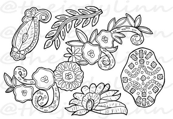 Museum Drawer: Appliques 2. Instant Download Digital Stamp Bundle. Line Art Illustration for Cards and Crafts