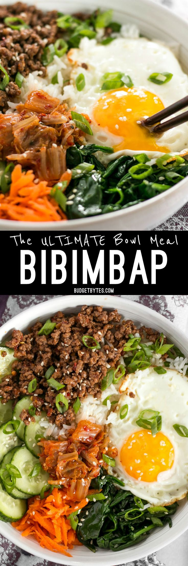 Bibimbap is the ultimate bowl meal with plenty of color, flavor, and texture to keep your taste buds happy and your stomach full. BudgetBytes.com