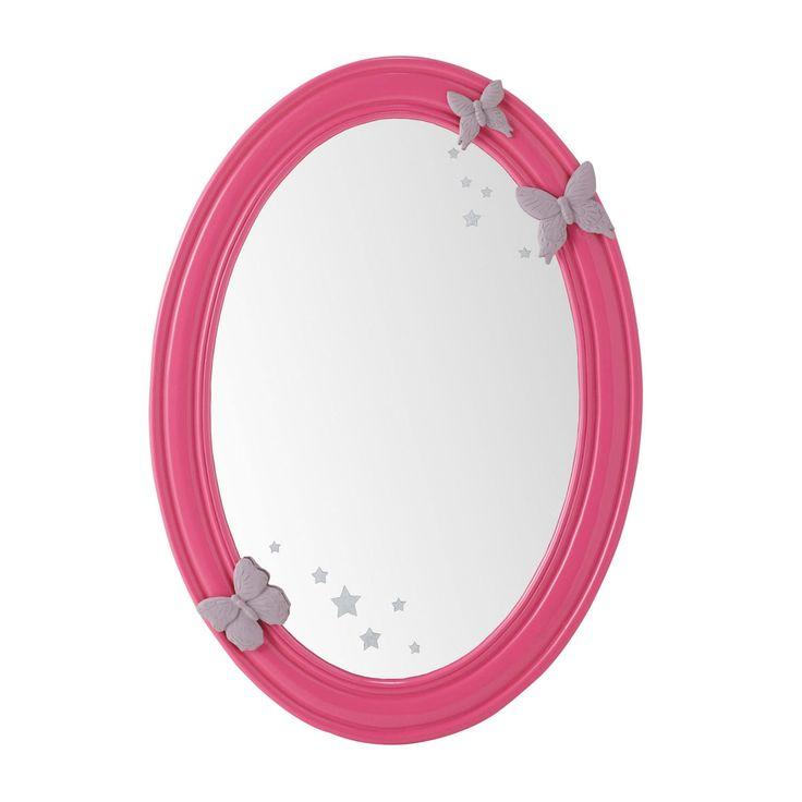Spiegel POETIK oval aus Holz, H 55cm, rosa