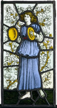 Painted glass, player with cymbals, by William Morris & Co, at Wightwick Manor.