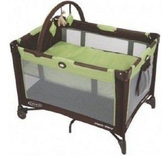 Playpen with Bassinet | $99.99.This Pack 'n Play Travel Playard Bassinet by Graco is ideal for the family on the go. Everywhere you go you'll feel secure knowing that you will have a place for your little one to play and sleep. The Playpen features a full size Bassinet ( that holds an infant up to 15 pounds ) that sets right in the top. The bassinet also folds up with the playpen when you are packing it away in it's convenient carrying case.