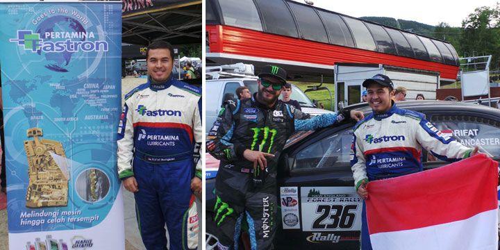 Rifat Sungkar bersama dengan Juara 1 New England Forest Rally, Ken Block.