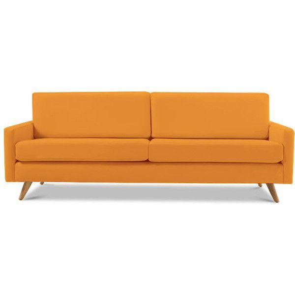 Mid Century Leather Sofa (5 285 AUD) ❤ liked on Polyvore featuring home, furniture, sofas, orange, mid century modern leather couch, mid-century sofa, mid century couch, leather sofa and orange leather sofa