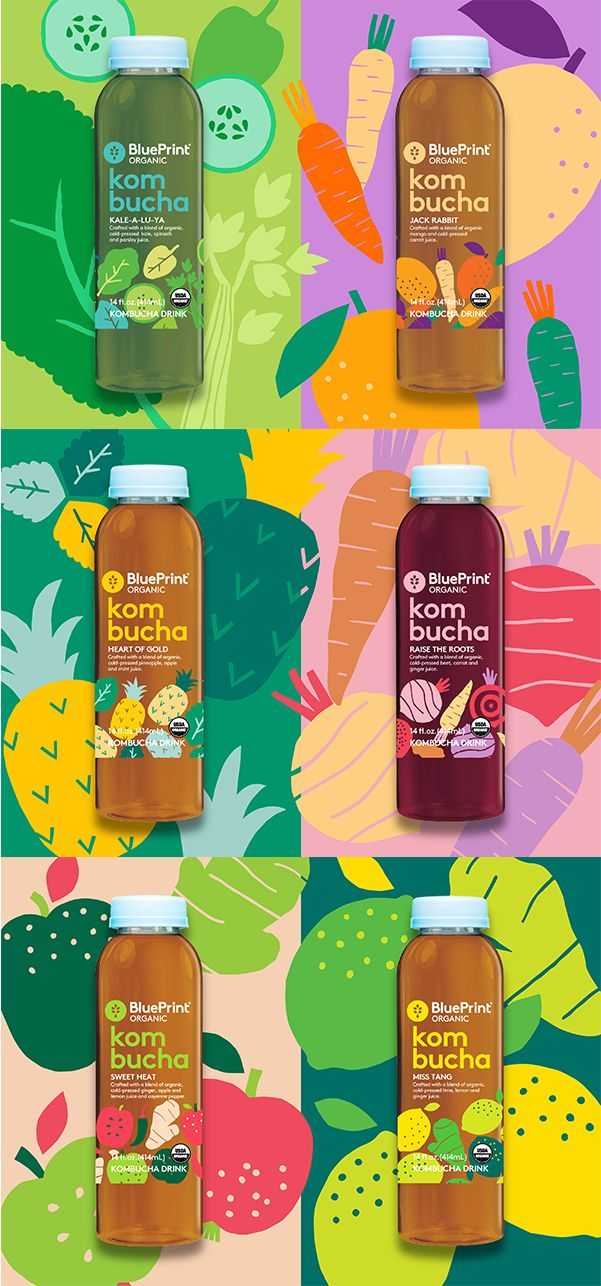 Illustration for BluePrint's kombucha beverages. #kombucha #illustration #leenakisonen #packaging #colors