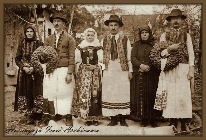 Village people in traditional clothes, Kalotaszeg. Hungary.