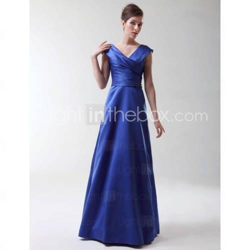 A-line Princess V-neck Floor-length Satin Bridesmaid/ Wedding Party Dress