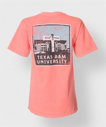 "This 100% cotton Comfort Colors neon shirt has a block ATM on the front with a distressed finish. The back has a popart style image of Kyle Field and reads ""Texas A&M University"". The image on the back is also distressed."