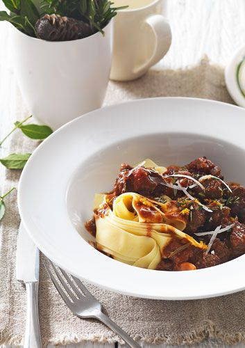 Beef in red wine with prunes and dark chocolate