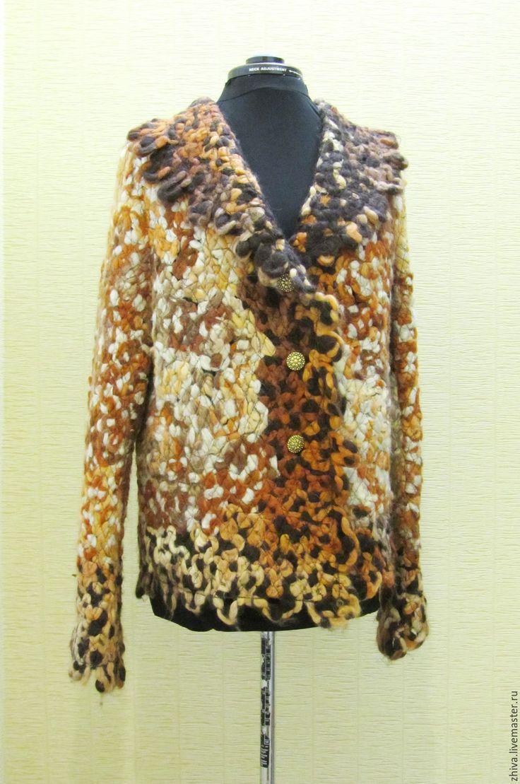 Купить Жакет САВАННА - комбинированный, абстрактный, жакет женский, полушерстяная пряжа, оверсайз, свободный крой