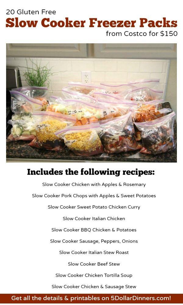 20 Gluten Free Slow Cooker Freezer Packs from Costco for $150 | 5DollarDinners.com