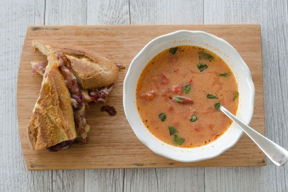 Roasted Tomato & Capsicum Soup with Caramelized Onion Grilled Cheese Toasts 1