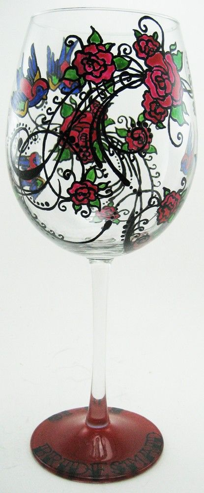 hand painted glassware tattoo wine glass 2. Black Bedroom Furniture Sets. Home Design Ideas