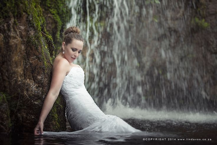 Beautiful Waterfall Trash the dress photography In South Africa.