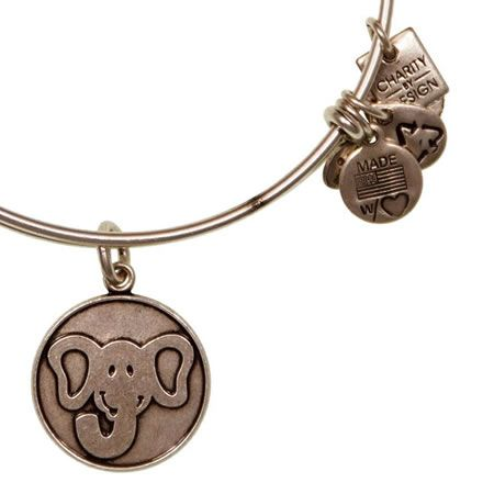 Alex and Ani The Elephant Expandable Wire Bangle Russian Silver