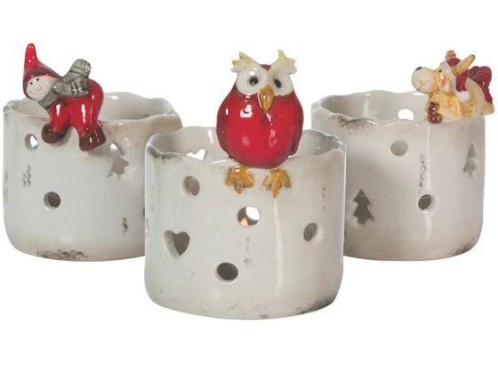Weihnachtliche Lichterspiele - Teelichthalter aus Keramik ... Weihnachten - Dekoration - Advent - heimelig - X-Mas