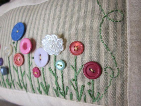 Button Flower Garden Decorative Pillow by simplyzofiastitchery