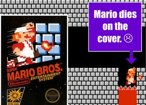 Mario is near death on the cover of Super Mario Bros.