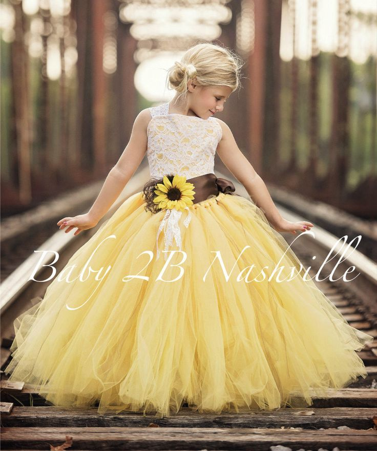 Sunflower Dress Yellow Dress Flower Girl Dress Shabby Chic Lace Dress Tulle dress Wedding Dress Birthday Dress Toddler Dress sunflower Girls Dress Imagine your little princess twirling and dancing in this ultra fluffy tulle tutu at your wedding! This set includes a top and skirt with a brown sati