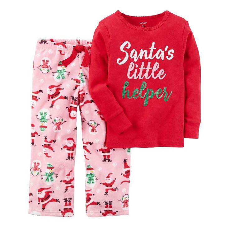 "Toddler Girl Carter's ""Santa's Little Helper"" Top & Microfleece Bottoms Pajama Set, Size: 5T, Red Santa"