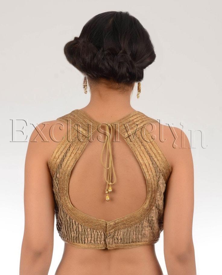 Cooper Crushed Tissue Sari Blouse - Buy Divya Kanakia Blouses Online | Exclusively.in