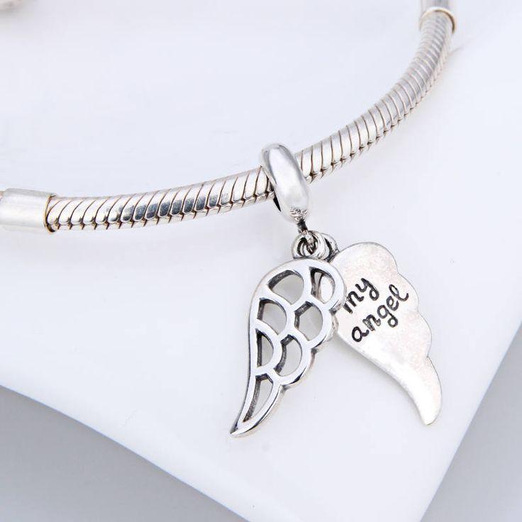 Ali d'Angelo con Scritta My Angel ciondolo 100% argento sterling 925 adatta a braccialetto stile europeo e collane e pandora bead charm di OceanBijoux su Etsy