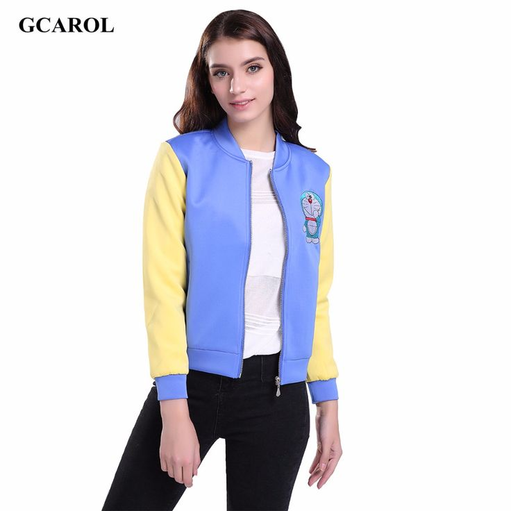 Women Collection Cartoon Embroidered Crop Jacket Cotton Space Two-Tone Colored Design Coat Girls Fashion Outwear