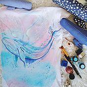 Одежда ручной работы. Ярмарка Мастеров - ручная работа Футболка с ручной росписью Летающий кит. Handmade.