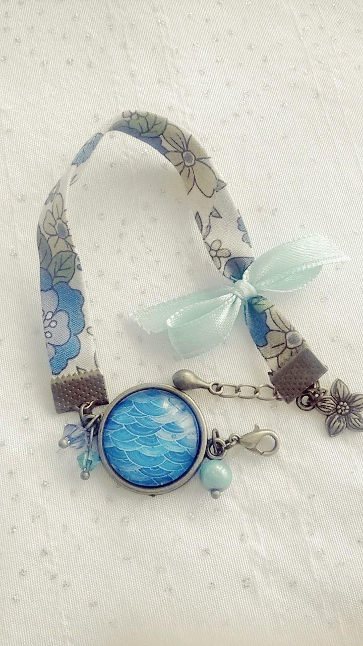 Bracelet Liberty Cabochon • Forme géométrique de couleur bleue : Bracelet par soo-happy