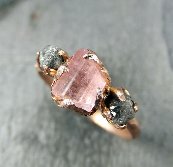 Rose gold and raw pink tourmaline — a match made in jewelry heaven. #etsy