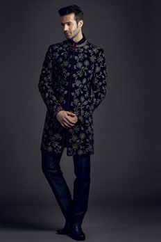 Velvet sherwani with kasab embroidery and maroon silk piping