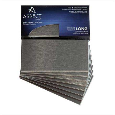 Aspect 3 Quot X6 Quot Brushed Stainless Long Grain Metal Backsplash