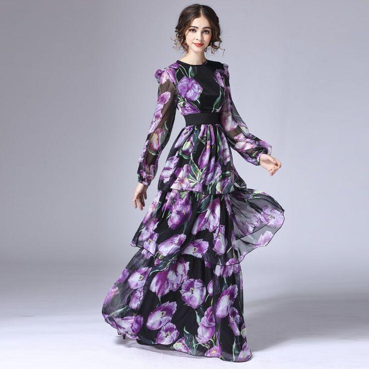 XXXXL!Top Quality New Plus Size Long Dress Luxury Women Stunning Floral Print Long Sleeve Floor-Length Elegant Maxi Dress Female