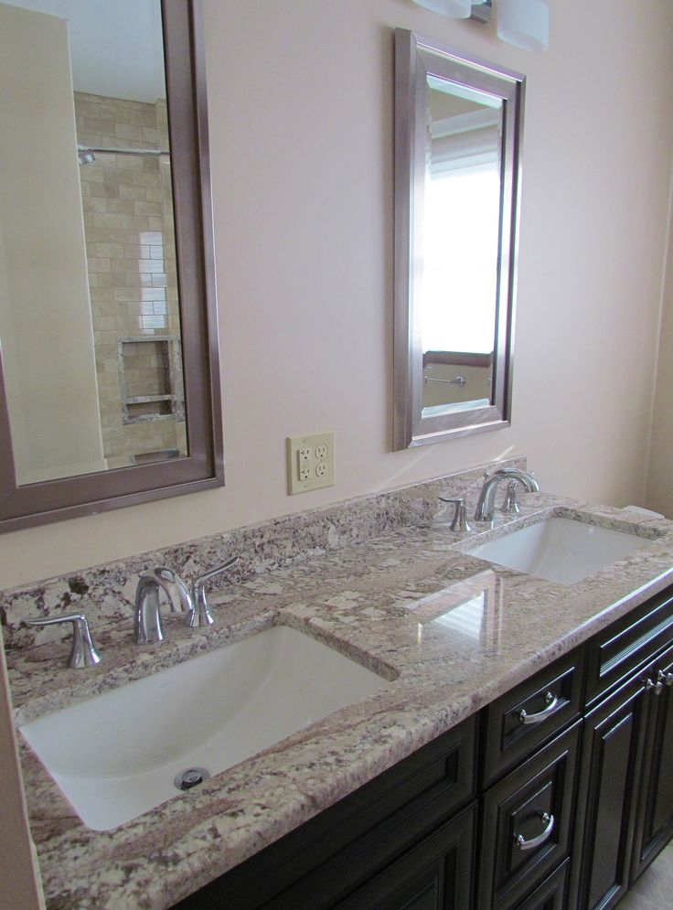 Elegant White Granite Vanity Countertop On Dark Espresso