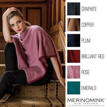 New Zealand Merinomink Two Tone Poncho. You will need to purchase all colours in this amazing wardrobe staple piece. Worn in 3 different ways to create very different looks for all shapes and sizes. The elegant tipping colour adds the small detail you will love. One size fits all. http://www.silverfernz.com/2434-merinomink-two-tone-poncho.htm