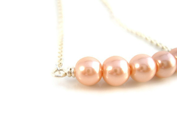 Peach Pearl Necklace on Simple Silver Chain UK by JewelleryByJora, $17.00