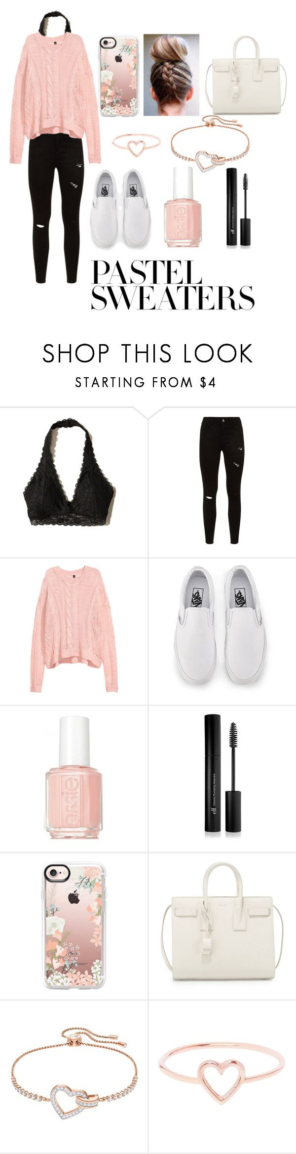 """Pink pastel sweater"" by ava83lewis on Polyvore featuring Hollister Co., Vans, Essie, Forever 21, Casetify, Yves Saint Laurent, Swarovski, Love Is and pastelsweaters"