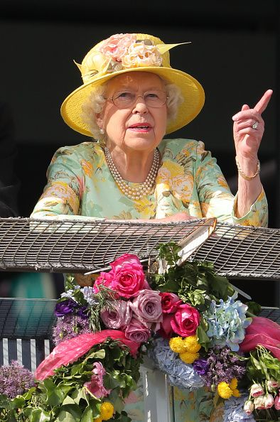 Queen Elizabeth II on Derby Day of the 2017 Investec Epsom Derby Festival at Epsom Racecourse, Epsom.