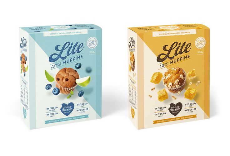 Front of Package, Food Packaging Designs for Great Temptations' Lite Muffins by Dessein, Australia.