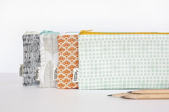 Zipper Pouch, Pencil Case, Organizer in fresh modern fabrics. Choose from the colors listed or mix and match a set. Use for back pack pouch, make
