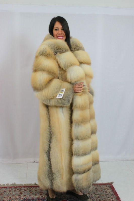 long thick golden island fox fur coat | Fur Coat