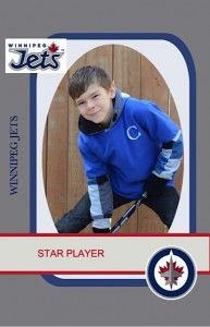 ideas for a hockey themed bday party. The kids all received personalized payer cards with photos that I took of each kid after they were 'drafted' a team and got their 'jersey' (personalized tshirt)