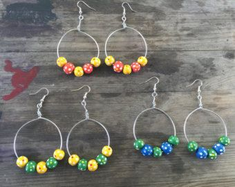Items similar to Crocheted Hoops with beads winter sunset on Etsy