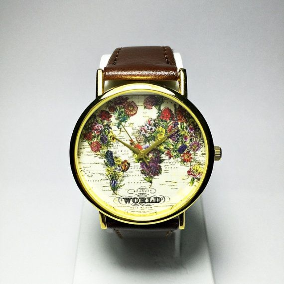 The World in Full Bloom Map Floral Watch Women Mens by FreeForme