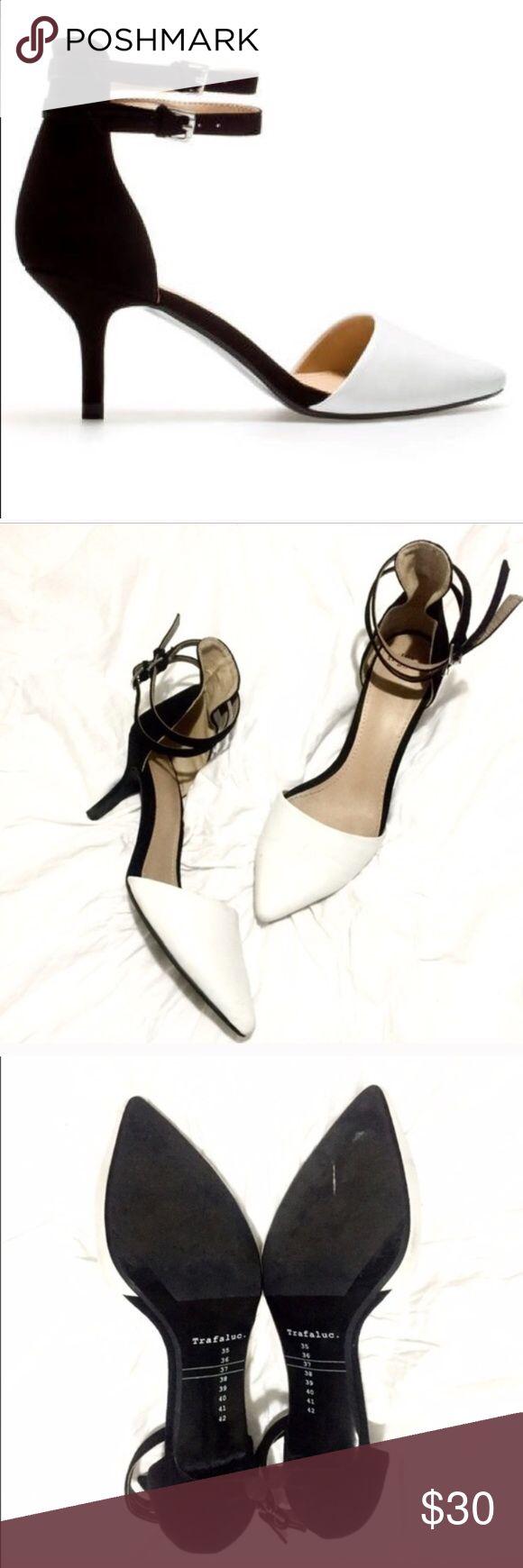 Zara two toned heels Worn twice, just minor flaws. Great condition kitten heel, black and white. Zara Shoes Heels