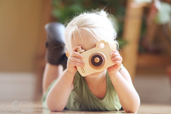 natural toy CAMERA  an all natural hardwood by SmilingTreeToys, $26.00.  Personalization optional for $32.00.