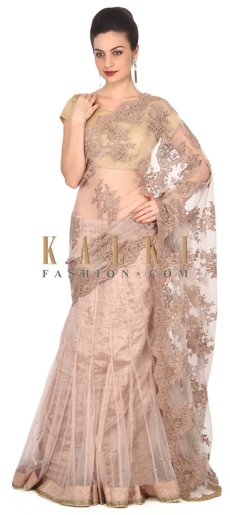 Buy this Light brown lehenga saree adorn in resham and kundan only on Kalki