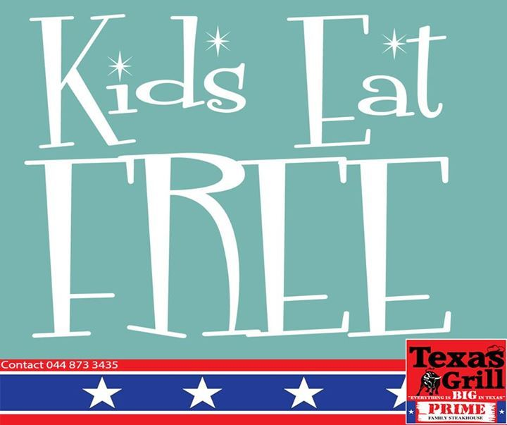 Will you and the family be joining us for Kids Eat Free Wednesday this evening? 2 kids per dining adult will receive their meals for free. #texasgrill #george #steakhouse
